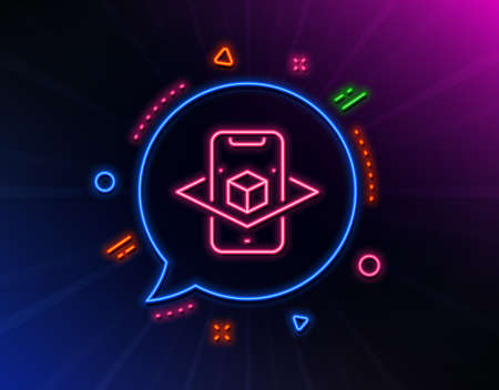 Augmented reality phone line icon. Neon laser lights. VR simulation sign. 3d cube symbol. Glow laser speech bubble. Neon lights chat bubble. Banner badge with augmented reality icon. Vector Illustration