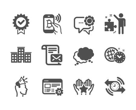 Set of Technology icons, such as Employees messenger, Speech bubble, Strategy, Mail letter, Company, Brand ambassador, Web settings, Timer, Bitcoin pay, Certificate, Ranking classic icons. Vector
