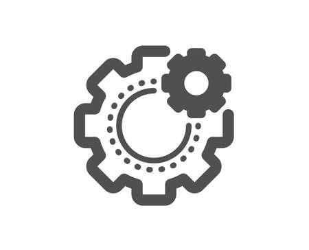 Engineering tool sign. Cogwheel icon. Cog gear symbol. Classic flat style. Simple cogwheel icon. Vector