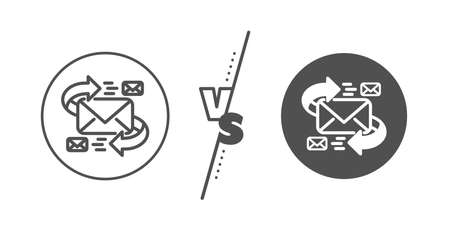 Communication by letters symbol. Versus concept. Mail line icon. E-mail chat sign. Line vs classic e-Mail icon. Vector
