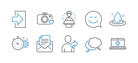 Set of Technology icons, such as Brand ambassador, Login, Refer friend, Speech bubble, Smile, Cogwheel timer, Photo camera, Fuel energy, Mail correspondence, Medical help line icons. Vector