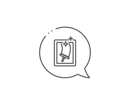 Window cleaning line icon. Chat bubble design. Washing service symbol. Housekeeping equipment sign. Outline concept. Thin line window cleaning icon. Vector