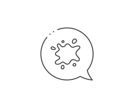 Dirty spot line icon. Chat bubble design. Laundry service sign. Clothing dirt symbol. Outline concept. Thin line dirty spot icon. Vector