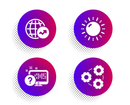 Sun energy, Online quiz and World statistics icons simple set. Halftone dots button. Gears sign. Solar power, Web support, Global report. Work process. Science set. Vector