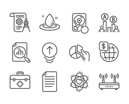 Set of Science icons, such as File, Atom, Wifi, Divider document, Fuel energy, Swipe up, Pie chart, Ab testing, First aid, Recovery hdd, Analytics graph, World money line icons. File icon. Vector