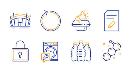 Lock, Edit document and Water bottles line icons set. Megaphone, Arena stadium and Washing machine signs. Loop, Chemical formula symbols. Private locker, Page with pencil. Business set. Vector