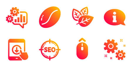 Seo, Swipe up and Scroll down line icons set. Organic tested, Information and Cogwheel signs. Coffee beans, Work symbols. Search target, Scrolling page. Business set. Gradient seo icons set. Vector