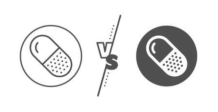 Medical drugs sign. Versus concept. Capsule pill line icon. Pharmacy medication symbol. Line vs classic capsule pill icon. Vector Vector Illustration