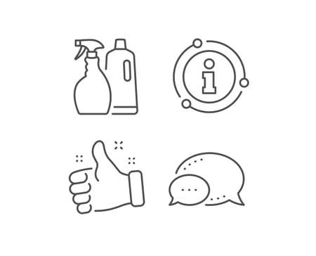 Cleaning spray and Shampoo line icon. Chat bubble, info sign elements. Washing liquid or Cleanser symbol. Housekeeping equipment sign. Linear shampoo and Spray outline icon. Information bubble. Vector