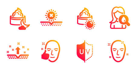 Night cream, Clean skin and Healthy face line icons set. No sun, Moisturizing cream and Uv protection signs. Health skin symbol. Face lotion, Cosmetics. Beauty set. Vector