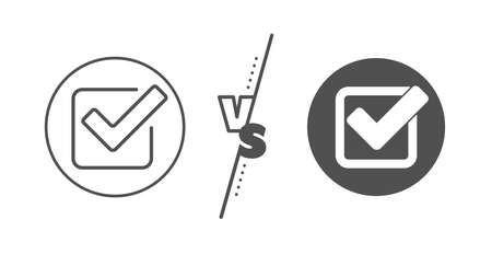 Approved Tick sign. Versus concept. Check line icon. Confirm, Done or Accept symbol. Line vs classic checkbox icon. Vector