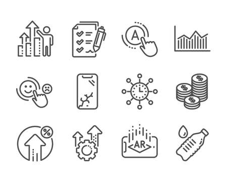 Set of Business icons, such as Ab testing, Water bottle, Augmented reality, Customer satisfaction, World time, Coins, Employee results, Smartphone broken, Survey checklist, Money diagram. Vector
