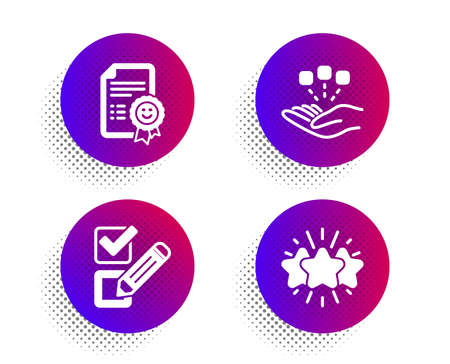 Consolidation, Smile and Checkbox icons simple set. Halftone dots button. Star sign. Strategy, Certificate, Survey choice. Customer feedback. Business set. Classic flat consolidation icon. Vector