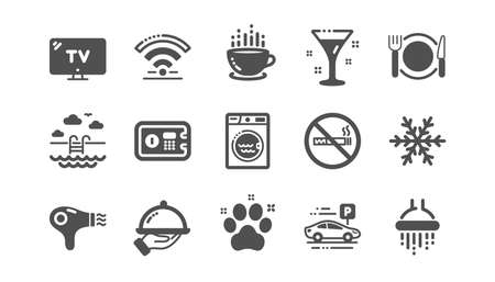Hotel service icons. Wi-Fi, Air conditioning and Washing machine. Pets, swimming pool and hotel parking icons. Classic set. Quality set. Vector