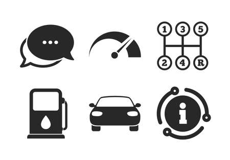 Car tachometer and manual transmission symbols. Chat, info sign. Transport icons. Petrol or Gas station sign. Classic style speech bubble icon. Vector Иллюстрация