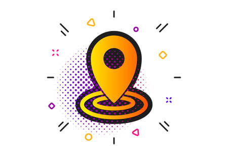Map pointer sign. Halftone circles pattern. Location icon. Classic flat location icon. Vector