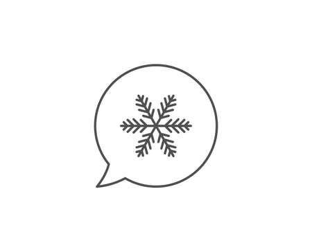 Snowflake line icon. Chat bubble design. Christmas snow sign. Winter or cold symbol. Outline concept. Thin line snowflake icon. Vector Ilustrace