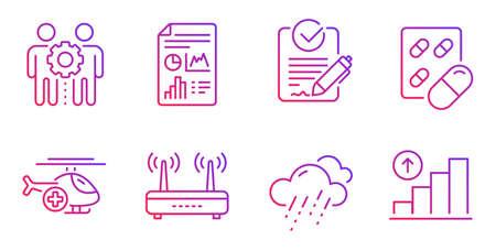 Conjunto de iconos de línea de helicóptero médico, píldora cápsula y rfp. Tiempo lluvioso, Wifi y señales de documentos de informes. Trabajo en equipo de empleados, símbolos de gráfico gráfico. Solicitud de propuesta, Medicamentos. Vector