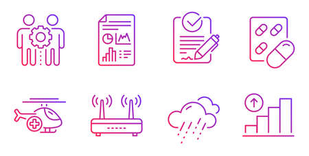 Rfp, Capsule pill and Medical helicopter line icons set. Rainy weather, Wifi and Report document signs. Employees teamwork, Graph chart symbols. Request for proposal, Medicine drugs. Vector Illustration