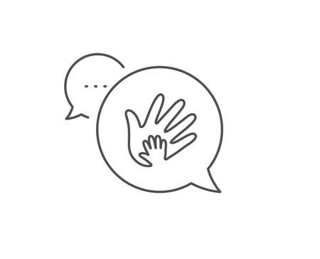 Hand line icon. Chat bubble design. Social responsibility sign. Honesty, collaboration symbol. Outline concept. Thin line social responsibility icon. Vector