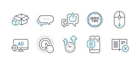 Set of Technology icons, such as Time management, Seo adblock, Dots message, Click hand, Packing boxes, Weather phone, Scroll down, Like, Tips, Reject book line icons. Vector