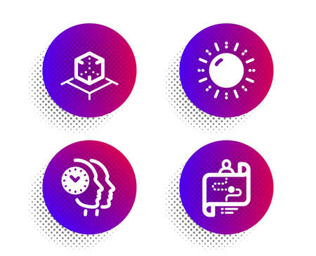 Sun energy, Augmented reality and Time management icons simple set. Halftone dots button. Journey path sign. Solar power, Virtual reality, Teamwork clock. Project process. Technology set. Vector Illustration