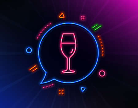 Wine glass line icon. Neon laser lights. Burgundy glass sign. Glow laser speech bubble. Neon lights chat bubble. Banner badge with wineglass icon. Vector