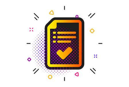 Accepted or confirmed sign. Halftone circles pattern. Approved checklist icon. Report symbol. Classic flat approved checklist icon. Vector