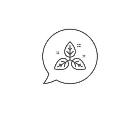 Fair trade line icon. Chat bubble design. Bio cosmetics sign. Organic tested symbol. Outline concept. Thin line fair trade icon. Vector