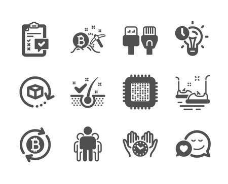 Set of Technology icons, such as Bumper cars, Refresh bitcoin, Computer cables, Safe time, Bitcoin mining, Checklist, Return package, Group, Dating, Time management, Anti-dandruff flakes. Vector Ilustrace