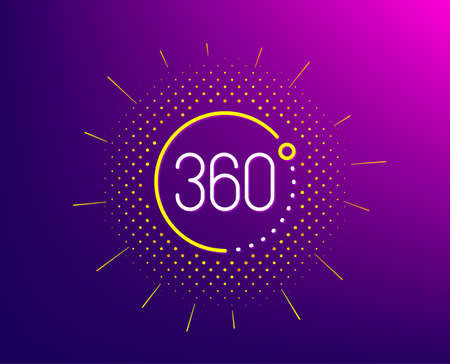 360 degrees line icon. Halftone pattern. VR simulation sign. Panoramic view symbol. Gradient background. 360 degrees line icon. Yellow halftone pattern. Vector