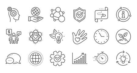 Core values line icons. Integrity, Target purpose and Strategy. Helping hand, social responsibility, commitment goal icons. Linear set. Quality line set. Vector