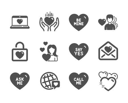 Set of Love icons, such as Be mine, Wedding locker, Hold heart, Heart, Say yes, Love letter, Ask me, World brand, Love, Call me classic icons. Valentines day, Wedding. Be mine icon. Vector Illustration