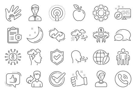 Check mark, Sharing economy and Mindfulness stress, Breath people line icons. Privacy Policy, Social Responsibility, Breath icons. Bad weather, Tick check mark, sharing refer, stress. Vector 일러스트