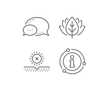 No sun protection line icon. Chat bubble, info sign elements. Skin care sign. Cosmetic cream symbol. Linear no sun outline icon. Information bubble. Vector 向量圖像