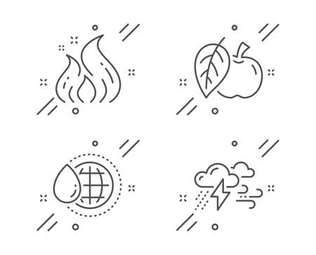 Apple, Fire energy and World water line icons set. Bad weather sign. Fruit, Flame, Aqua drop. Clouds. Nature set. Line apple outline icon. Vector