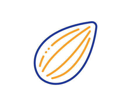 Tasty nuts sign. Almond nut line icon. Vegan food symbol. Colorful outline concept. Blue and orange thin line almond nut icon. Vector Illustration