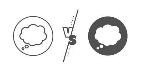 Chat sign. Versus concept. Comic Speech bubble line icon. Communication or Comment symbol. Line vs classic comic message icon. Vector