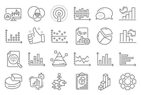 Charts and Diagrams line icons. Report, 3D Chart, Block diagram and Dot Plot graph linear icons. Trend, Pyramid and Pie chart report symbols. Presentation infochart, process flow diagram. Vector