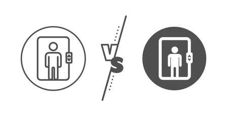 Signo de elevación de transporte. Versus concepto. Icono de línea de ascensor. Línea vs icono de ascensor clásico. Vector