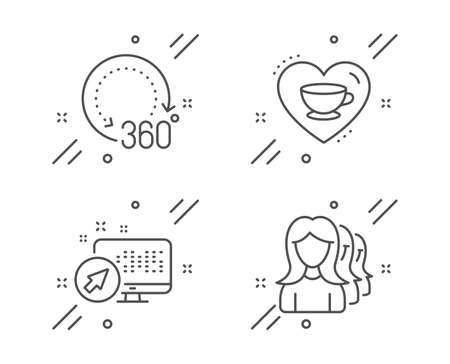 Web system, 360 degrees and Love coffee line icons set. Women headhunting sign. Computer, Panoramic view, Cappuccino mug. Women teamwork. Business set. Line web system outline icon. Vector