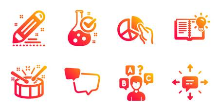 Product knowledge, Drums and Chemistry lab line icons set. Pie chart, Brand contract and Quiz test signs. Speech bubble, Sms symbols. Education process, Drumsticks. Education set. Vector