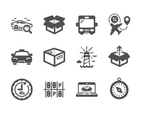 Set of Transportation icons, such as Send box, 48 hours, Flight sale, Office box, Parking place, Online delivery, Taxi, Lighthouse, Travel compass, Bus, Search car classic icons. Send box icon. Vector