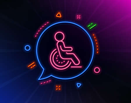 Disability line icon. Neon laser lights. Disabled person sign. Hotel service symbol. Glow laser speech bubble. Neon lights chat bubble. Banner badge with disability icon. Vector