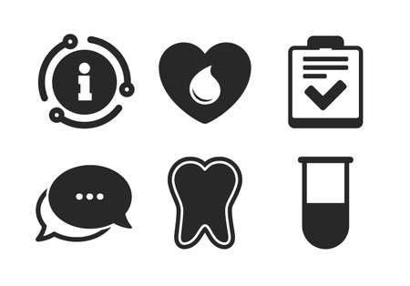 Tooth, test tube, blood donation and checklist signs. Chat, info sign. Medical icons. Laboratory equipment symbol. Dental care. Classic style speech bubble icon. Vector