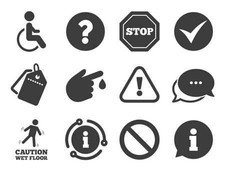 Question mark and information signs. Discount offer tag, chat, info icon. Attention caution icons. Injury and disabled person symbols. Classic style signs set. Vector Ilustração