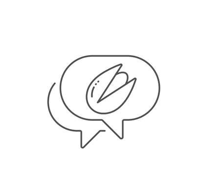 Pistachio nut line icon. Chat bubble design. Tasty nuts sign. Vegan food symbol. Outline concept. Thin line pistachio nut icon. Vector