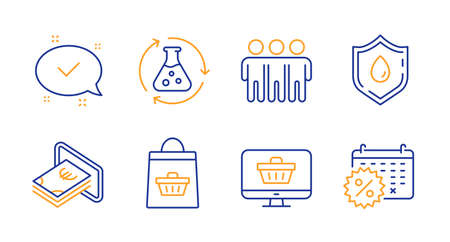 Friendship, Cash and Blood donation line icons set. Web shop, Chemistry experiment and Approved signs. Online buying, Calendar discounts symbols. Trust friends, Atm payment. Business set. Vector Illustration