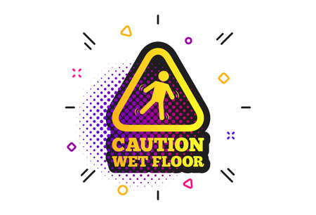 Caution wet floor sign icon. Halftone dots pattern. Human falling triangle symbol. Classic flat slippery icon. Vector