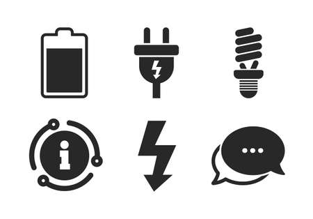Fluorescent lamp and battery symbols. Chat, info sign. Electric plug icon. Low electricity and idea signs. Classic style speech bubble icon. Vector Vettoriali